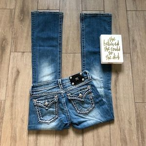 Miss Me Distressed Bootcut Jeans Low Rise  Faded